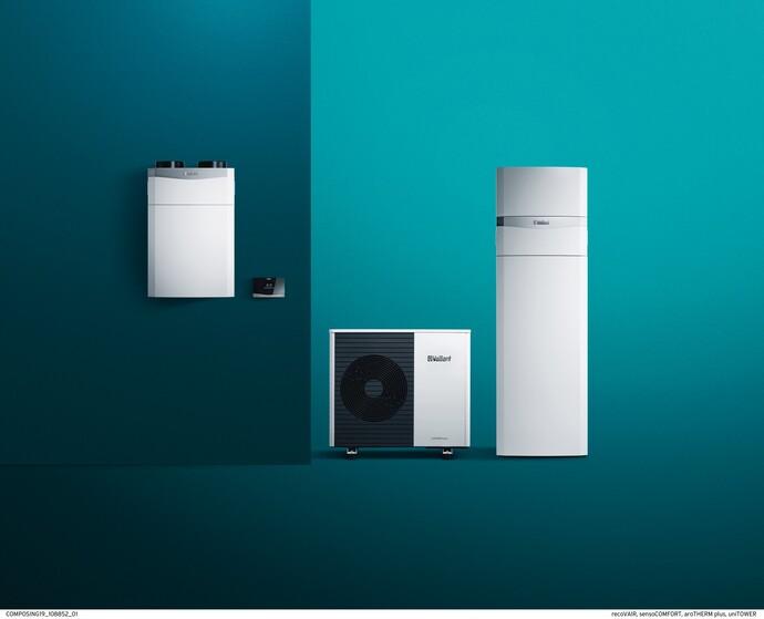 Vaillant dizalica topline zrak-voda aroTHERM plus s unutarnjom jedinicom uniTOWER plus, rekuperacijom klima uređaja i senzorom regulatora sustava-COMFORT